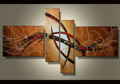 4 Panel Hand-painted Modern Abstract Oil Painting on Canvas Wall Art Framed Ab41