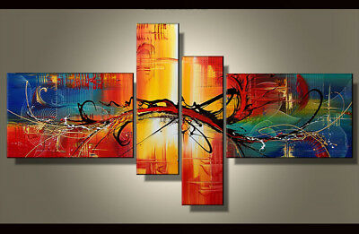 4 Panel Hand-painted Modern Abstract Oil Painting on Canvas Wall Art Framed Ab42