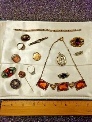 LOT of Antique Vintage Jewelry Sterling Alpacca Silver 15 pcs.Pins Rings NICE