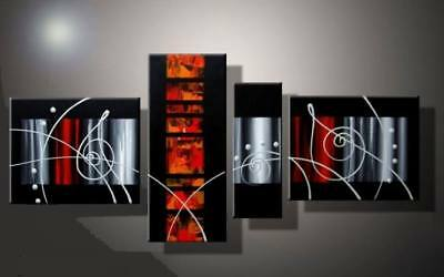 4 Panel Hand-painted Modern Abstract Oil Painting on Canvas Wall Art Framed Ab57