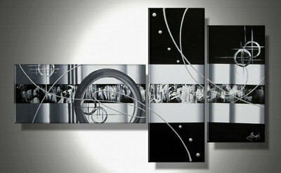 3 Panel Hand-painted Modern Abstract Oil Painting on Canvas Wall Art Framed Ab59