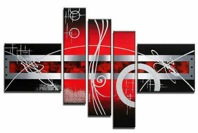 5 Panel Hand-painted Modern Abstract Oil Painting on Canvas Wall Art Framed Ab09