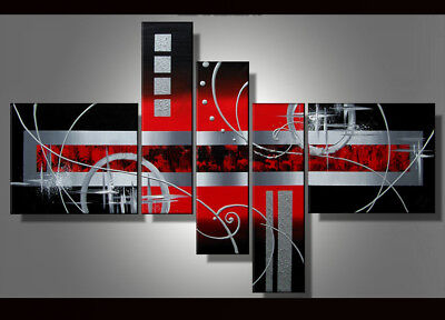 5 Panel Hand-painted Modern Abstract Oil Painting on Canvas Wall Art Framed Ab08
