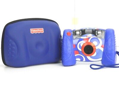 Fisher Price Digital Camera Kid Tough 2006 Blue White w/ 256MB SD card and Case