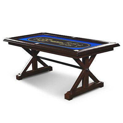 Premium Poker Table Solid Wood Texas Holdem Builtin Drink Holder Casino Style