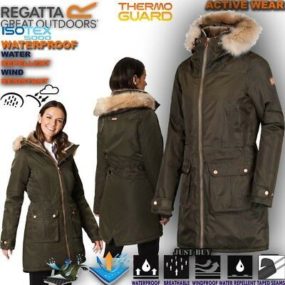 a26a53a195118 Regatta Jacket Womens Lucasta Waterproof Fishtail Parka Work Long Coat  Hoodie