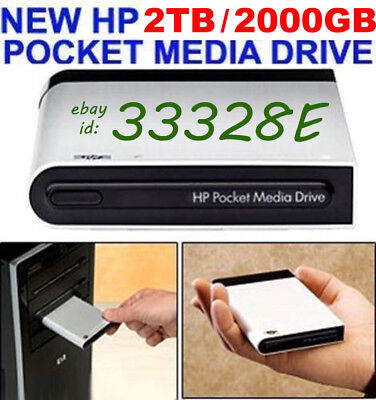 New Hp 2Tb _ 2000Gb Pocket Media Drive Usb External 2 Year Warranty Msrp  $899+