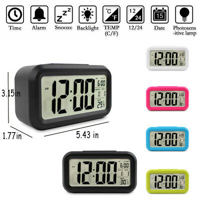 Digital LCD Snooze Electronic Alarm Clock with LED Backlight Light Control UVS