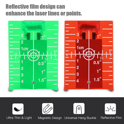 Magnetic Red Target Plate For Rotary Cross Line Laser Level Distance Measurer