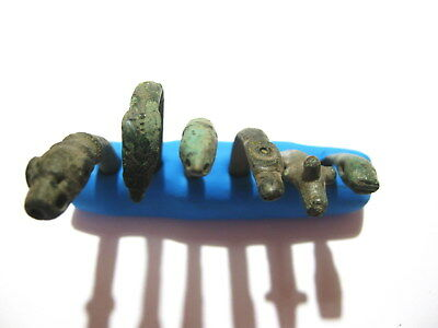 Ancient Roman Griffin Snake Serpent Head Bronze Bracelet Fragments - Lot of 6