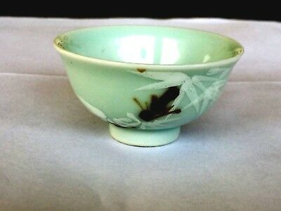 "Very Rare Antique Chinese Celadon Small 2.20""d Cup Painted Underglass Bamboo Bee"