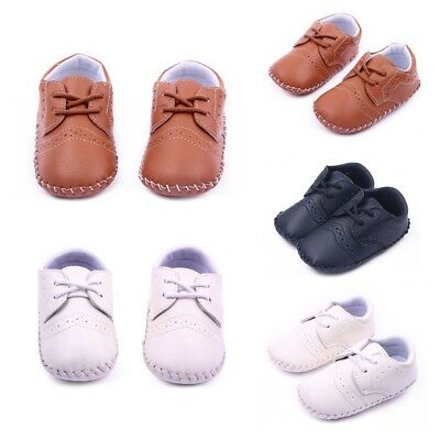 Newborn Baby Toddler Infant Boy Girl PU Leather Warm Crib Shoes Prewalker 0-12M