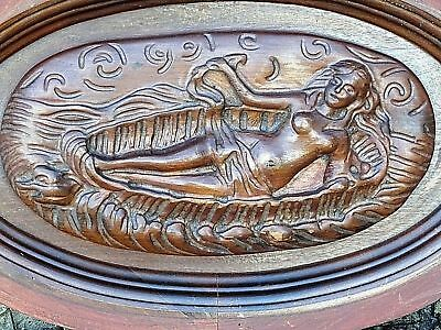 Victorian antique Wood carved Nude lady Sun bather Architectural Panel