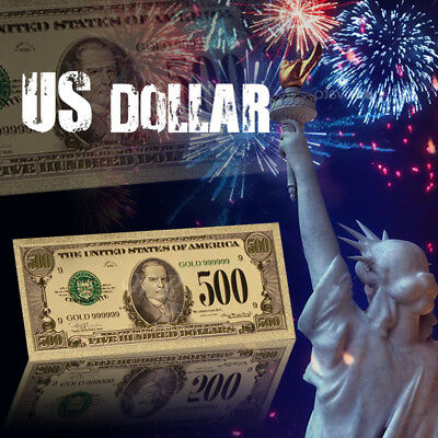 WR US $500 Dollar Bill 24K Gold Foil Colored America Banknote Collect