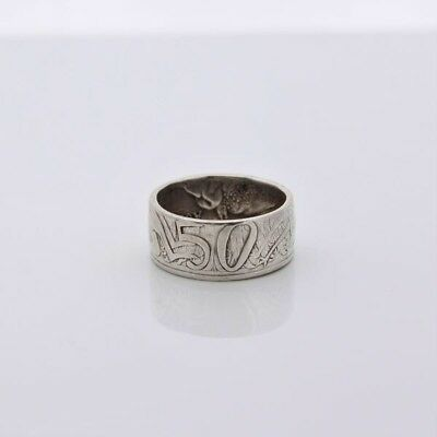 Australian 1966 Fifty Cent 80% Silver Coin Handcrafted Coin Ring