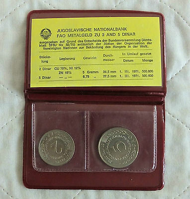 YUGOSLAVIA 1970 FAO 2 COIN UNCIRCULATED SET - brown wallet