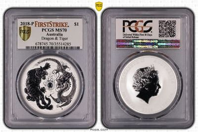 2018-P Dragon and Tiger 1 oz silver PCGS MS70 First Strike