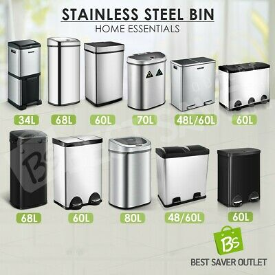 Rubbish Bin Pedal Separated Garbage Trash Can Stainless Steel 48 50 58 60 68L