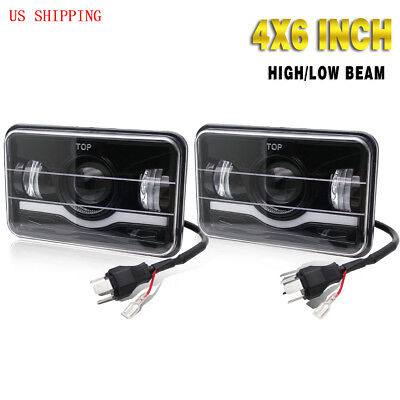 "2PCS 4x6"" LED Light Bulb Clear Sealed HI/LO Beam HeadLamp Headlight IP68"