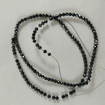 """33.68 Ct Loose Black Moissanite Synthetic Diamonds 3 mm Beads 8"""" Long Necklace"""