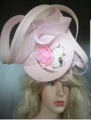 Fascinator hatinator hat races wedding pink - one off design