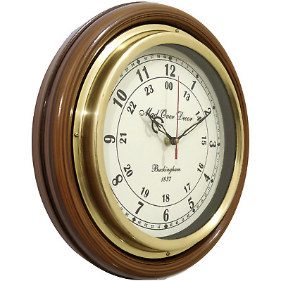 Vintage Buckingham 1837 Wall Clock With Brass Ring Antique Style Xmas Gift Item