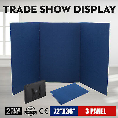 72 x 36 3 Panel Tabletop Display Presentation Board Double Side Booth Blue