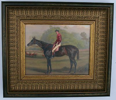 Horse and Jockey Framed Oleograph R215#W  Reproduction Antiques , Art