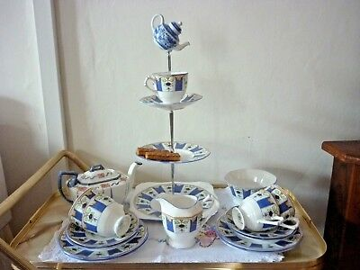 Quirky Mad Hatter Tea Set for 4  with Cake Stand  &  Mismatched Teapot