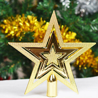 7983 Christmas Tree Decorative Topper Star Gold Three Layers Home Office Ornamen