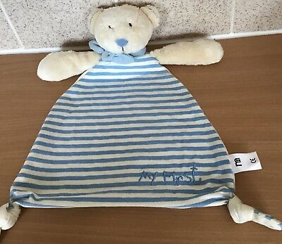 My First 1st Teddy Bear MOTHERCARE Striped Baby Boy Flat Comforter Blankie. New
