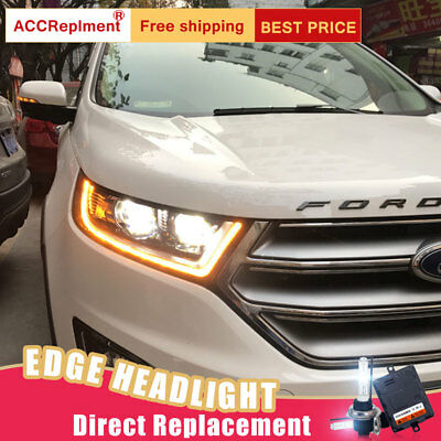 Pcs For Ford Edge Headlights Assembly Bi Xenon Lens Projector Led Drl
