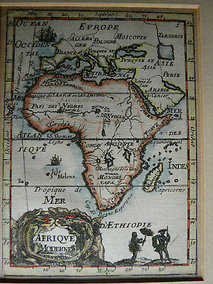 Antique Map of Africa by Mallet Ornate Cartouche Copper Plate Engraving 1685