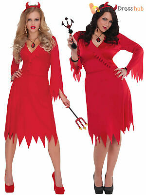 Ladies Red Hot Devil Costume Adults Halloween Fancy Dress Womens Demon Outfit