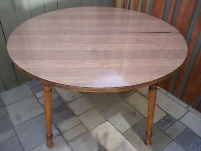 """Vintage Tell City Chairs dining room kitchen round maple formica 48"""" table 8163"""