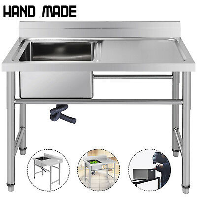 """Commercial Stainless Steel Kitchen Utility Sink with Drainboard - 39"""" wide"""
