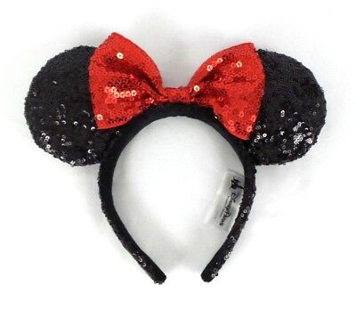 Disney Parks Authentic Minnie Mouse Ears Headband Black Red Bow Sequin Adult OS