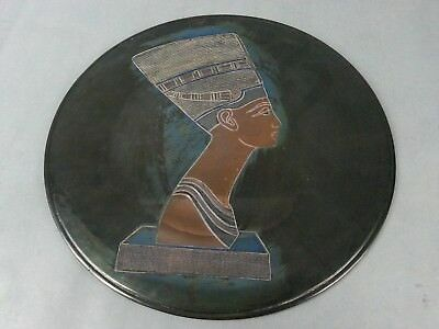 Vintage Copper Egyptian Platter Plate Made In UAR Wall Hanging
