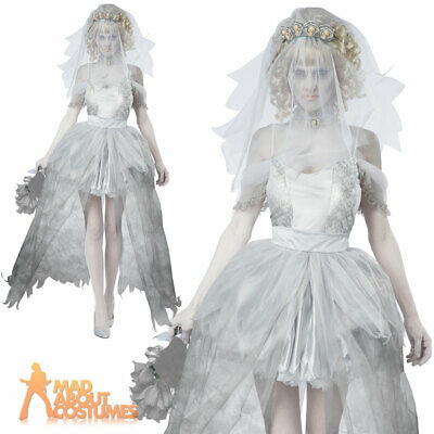 Ghostly Corpse Bride Costume Ladies Sexy Zombie Halloween Fancy Dress Outfit
