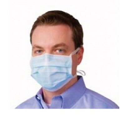 Disposable Face Protection Mask 3 Ply Tie On  Dust Odour Bacteria Non Irritant