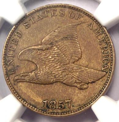 1857 Flying Eagle Cent 1C - NGC AU Details - Rare Early Certified Penny!