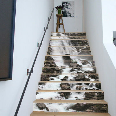 13pcs 3D Waterfall House Stairs Risers Photo Mural Decal Sticker Decor Wallpaper