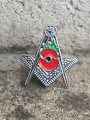 Masonic Poppy Pin Lapel Badge Lest We Forget Freemasonary Freemasons Masons LWF