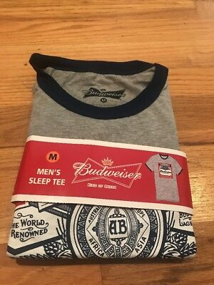 Budweiser Beer Men's Sleep Tee Medium M T-shirt Brand New In Package