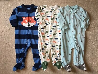 Baby boy 6 month fleece one-piece sleepers fall LOT of three ALL CARTER'S, VGUC