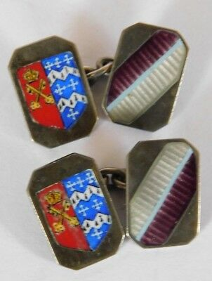 Vintage Pair Of Solid Silver And Enamel Armorial / Coat Of Arms Cufflinks
