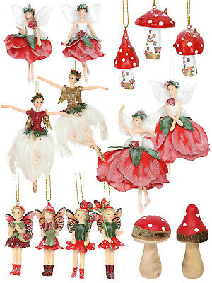 Gisela Graham Fairy Wooden Christmas Tree Decoration Xmas Toadstool Swan Ornamen