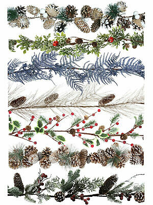 Gisela Graham Garland Christmas Decoration White Frosted Red Berry Fir Cone Xmas
