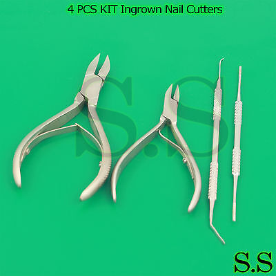 4 PCS KIT Ingrown Nail Cutters, Podiatry Instruments ingrown Black File BTS-78