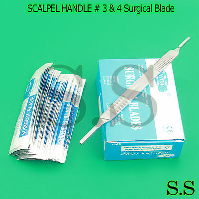 1 SCALPEL KNIFE HANDLE # 3 & 4 + 100 Pcs STERILE SURGICAL BLADE #10 #12 #21 #23
